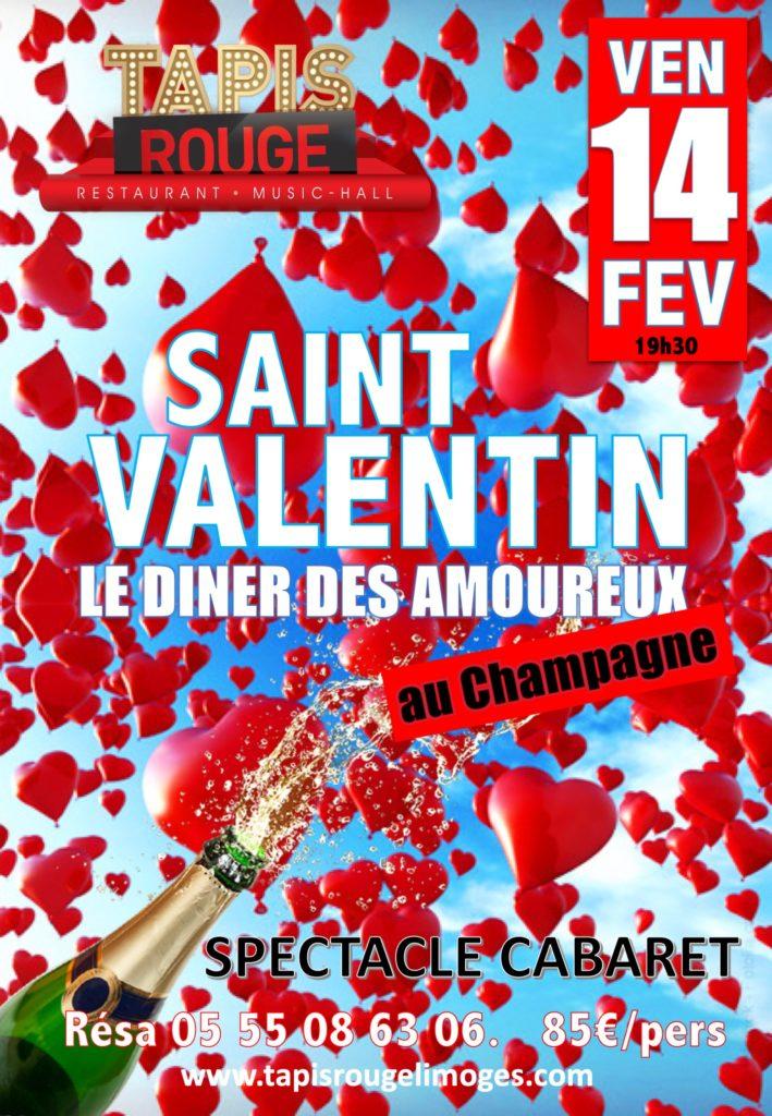 DINER SPECTACLE SAINT VALENTIN menu spécial au champagne